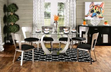 """60"""" Nova Glass Top Satin Plated Table Set"""