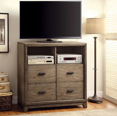 4 Drawer Media Chest in Natural Ash Finish 7615TV
