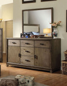 5-Drawer Dresser with 2 Cabinets and Mirror in Natural Ash Finish