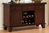 Dining Room Sideboard with 2 Wine Racks in Dark Oak Finish