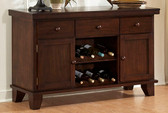 Dining Room Cabinet with 2 Wine Racks in Dark Oak Finish