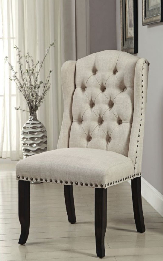 Sania Beige Line Like Upholstered Wingback Chairs