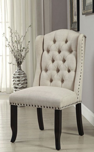 Sania Beige Line-like Upholstered Wingback Chairs