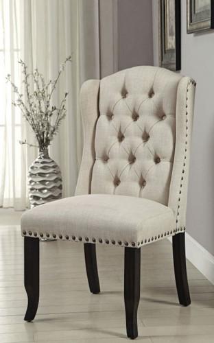 Sania Beige Line-like Upholstered Wingback Chairs