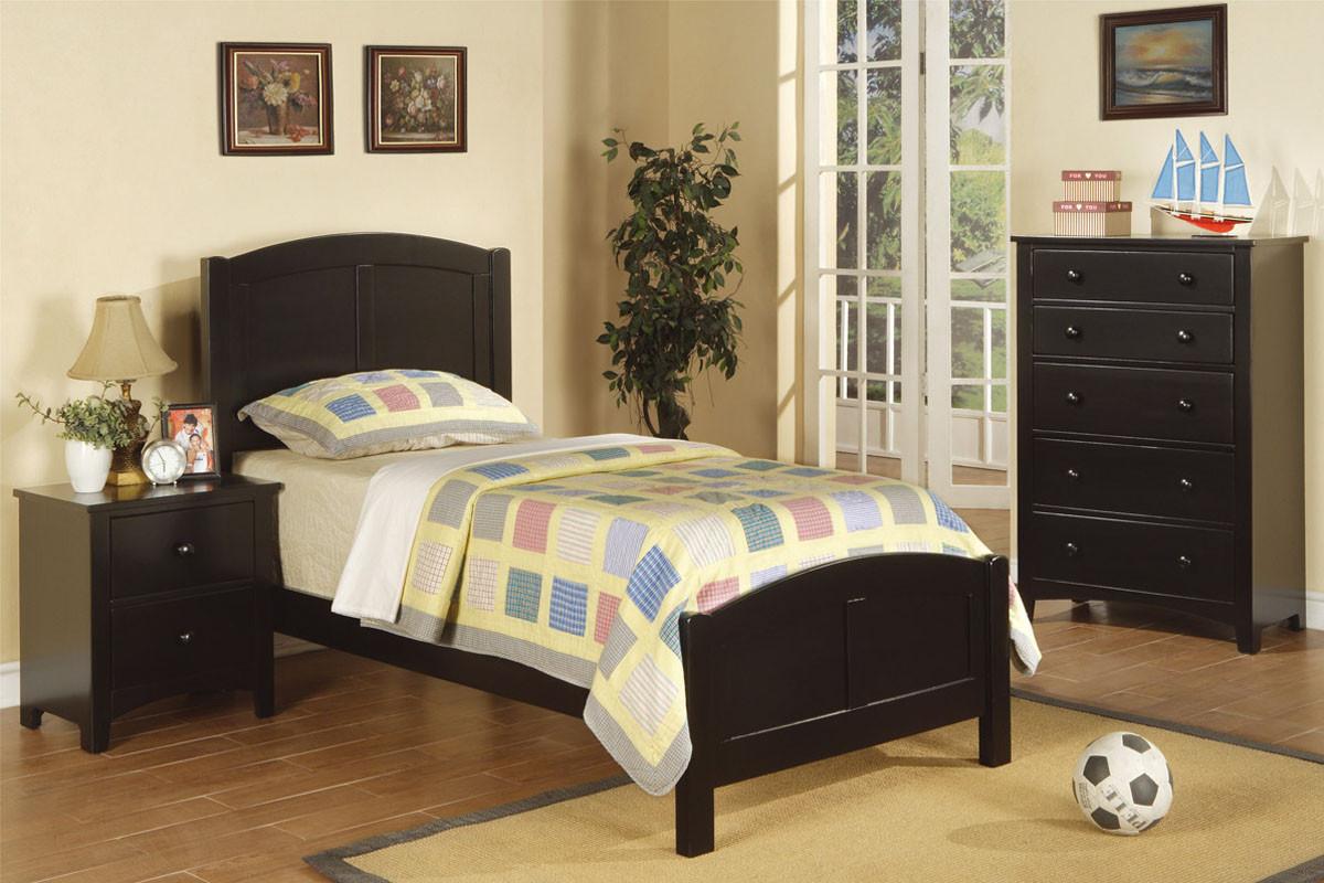 Youth Wood Twin Single Bed Cherry Black Oak White