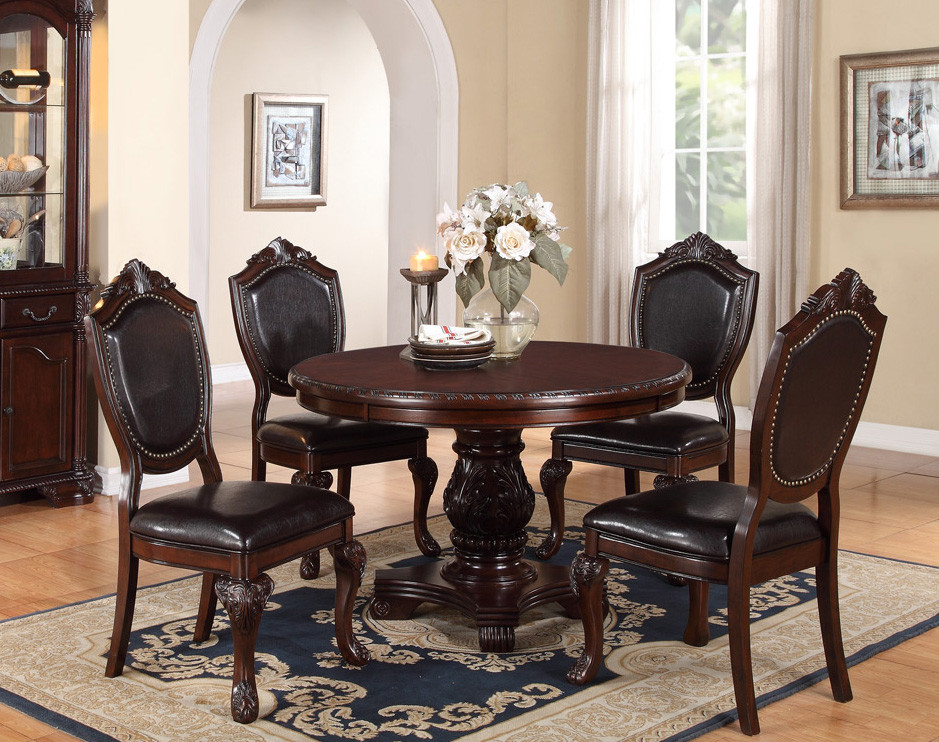 48\  Round Cherry Dining Table Set Poundex F2187 & 48\