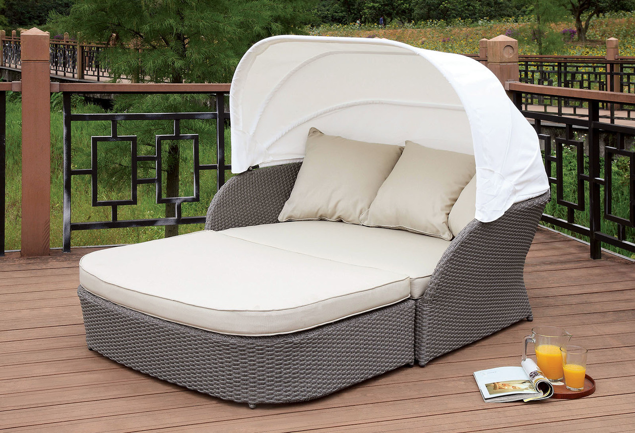 ... Furniture Of America OS2107 Outdoor Patio Canopy Daybed | Outdoor Daybed  With Awning ...
