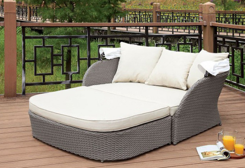 ... Wicker Finish; Patio Daybed & Furniture of America OS2107 Outdoor Patio Canopy Daybed