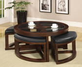 Crystal Cove Round Glass Wood Coffee Table