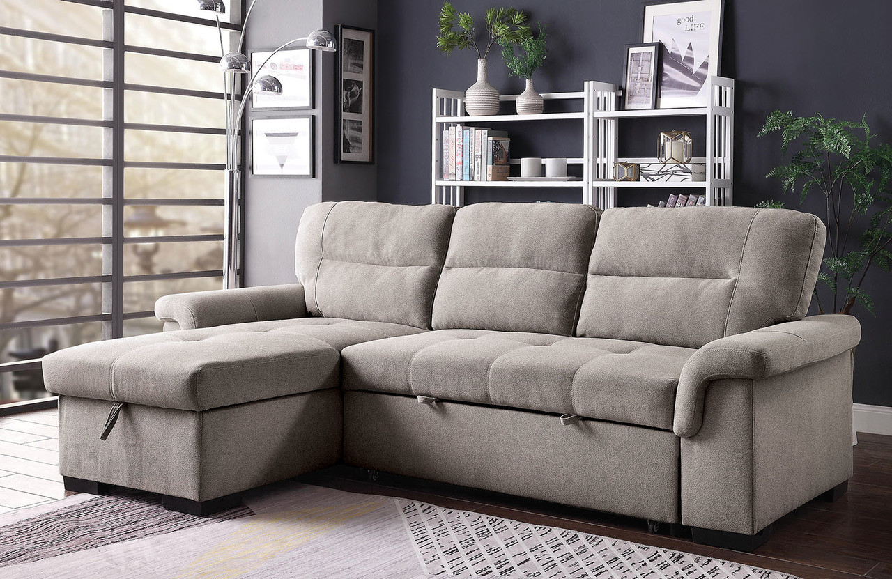 L Shaped Sleeper Sofa with Chaise Storage