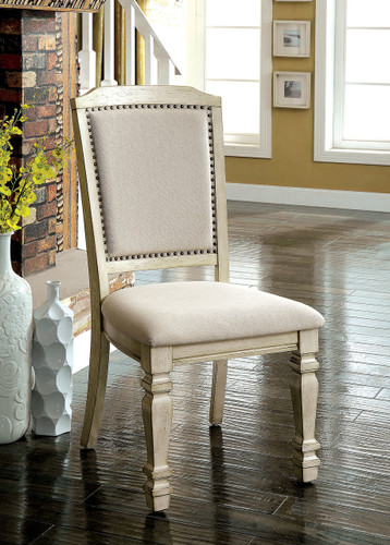 Holcroft Antique White Upholstered Chairs with Nail-head Trim