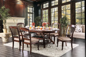 Furniture of America CM3626T Wine Storage Dining Room Table w/ 6 Chairs in Brown Cherry