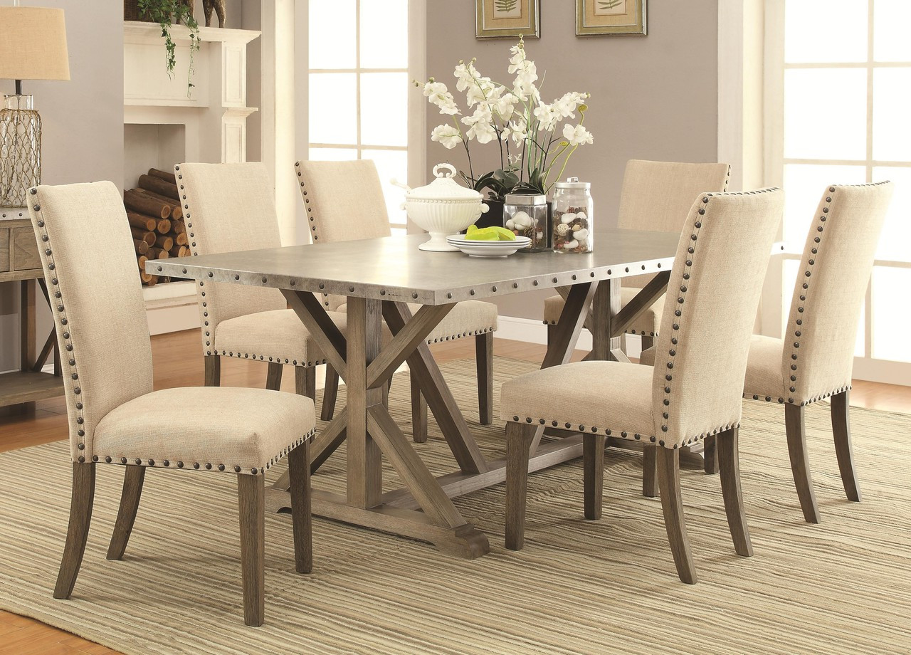 Webber Driftwood 7 Pc Dining Table Set by Coaster Furniture
