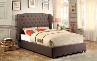 Homelegance Dark Gray Tufted Winged Bed