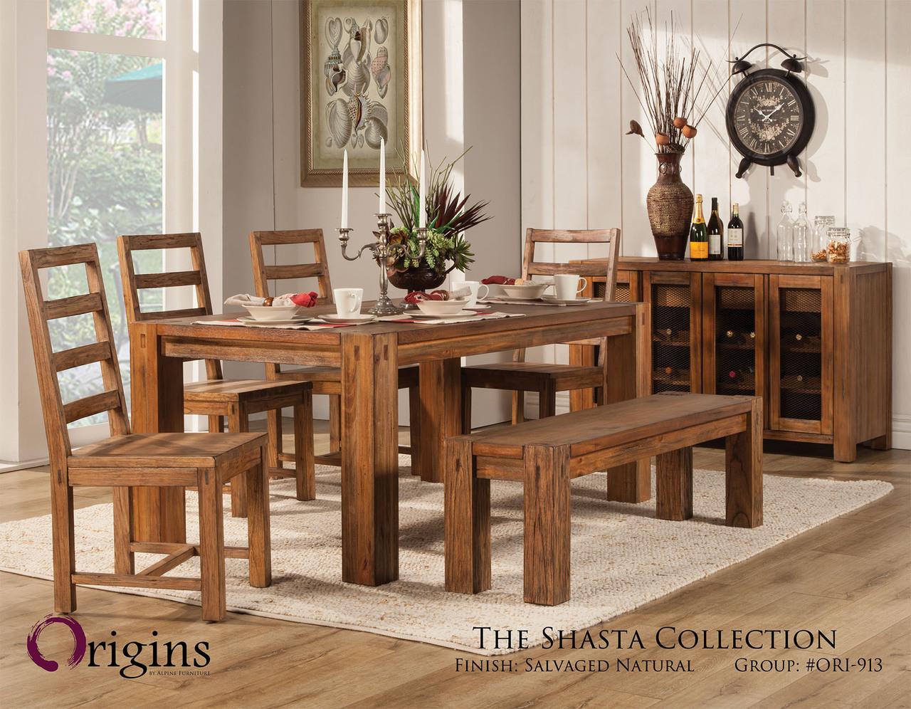 Shasta Salvaged Natural Table Set Origins By Alpine Furniture