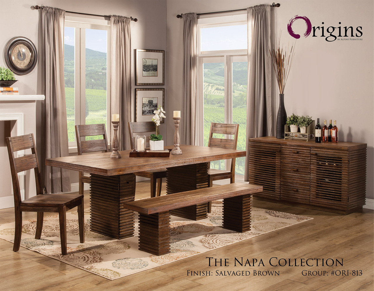 Superb Napa Salvaged Brown Dining Table Set From Origins By Alpine Furniture Caraccident5 Cool Chair Designs And Ideas Caraccident5Info