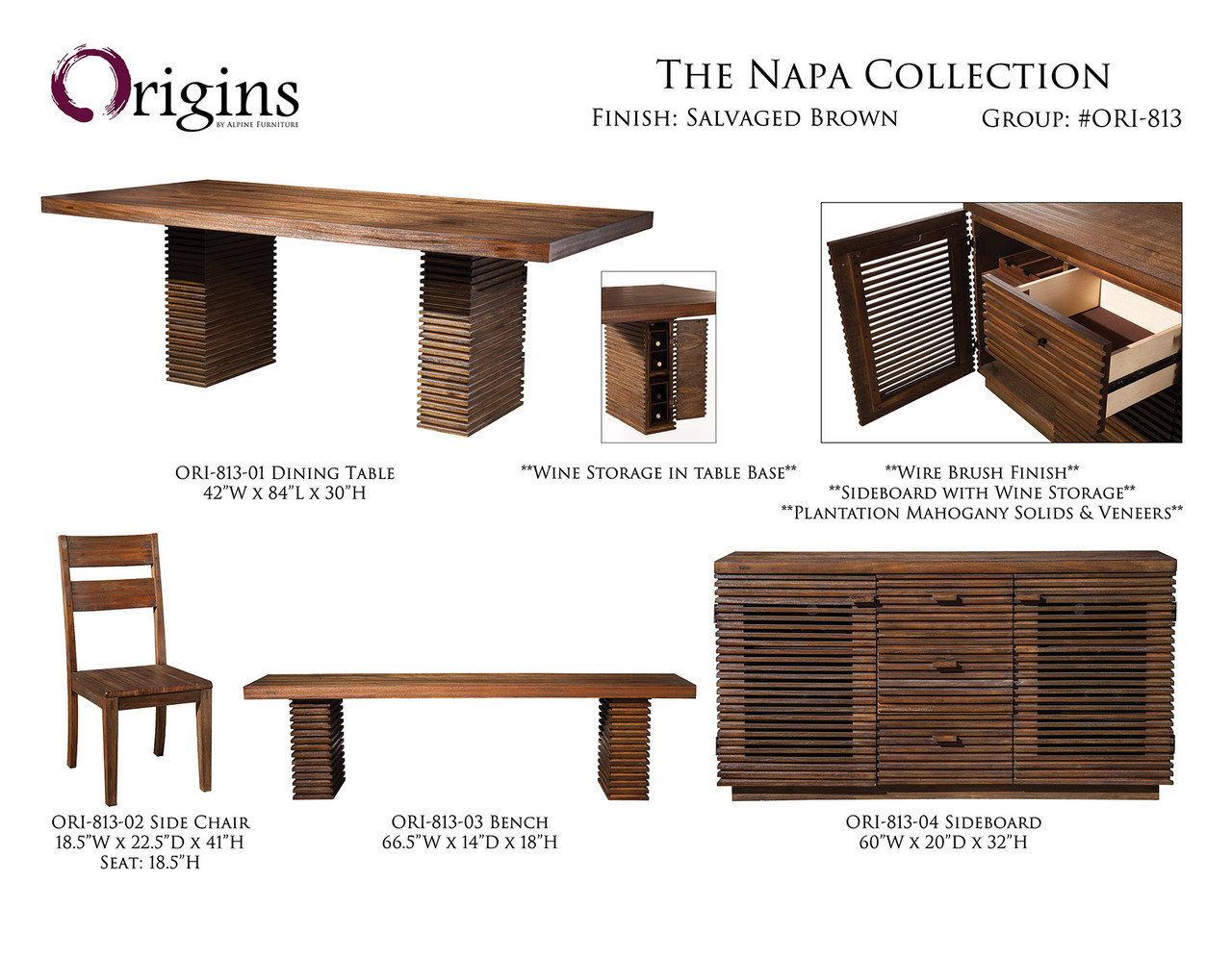 Napa Salvaged Brown Dining Set From Origins By Alpine