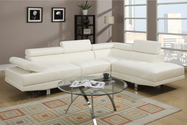 Poundex F7320 White Faux Leather Sectional Couch Set