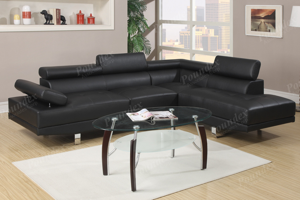 ... Poundex F7310 Black Faux Leather Sectional Sofa Set ... : leather sectional sofa set - Sectionals, Sofas & Couches