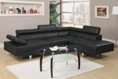 Poundex F7310 Black Faux Leather Sectional Sofa Set