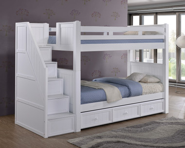 Dillon White Twin Bunk Bed with Storage Stairs | DILLON White Twin Over Twin Bunk Bed with Stairs