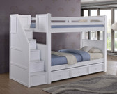 Dillon White Twin Bunk Bed with Storage Stairs | DILLON White Twin Over Twin Bunk Bed with Stairway