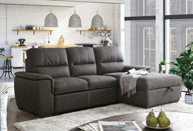 Nubuck Upholstered Sleeper Sofa with Storage Chaise