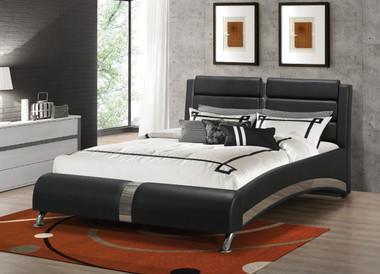 Coaster Furniture 300350Q Black Leatherette Bed | Platform Bed