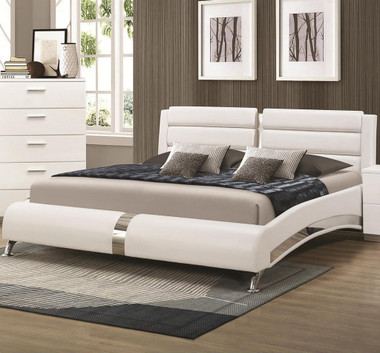 Coaster Furniture 300350Q White Leatherette Bed | Platform Bed