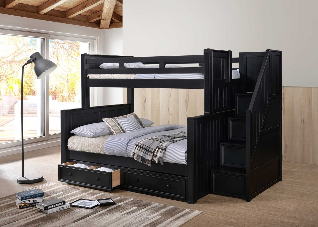 Picture of: Dillon Twin Over Full Bunk Bed W Storage Stairs