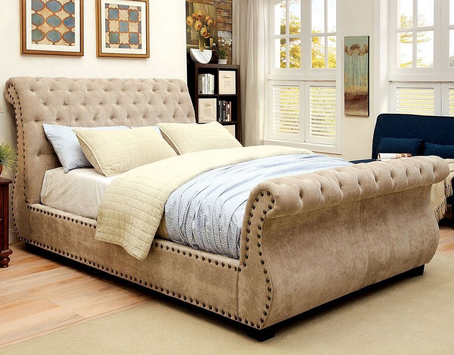 furniture of america cm7127 mocha sleigh bed sleigh beds