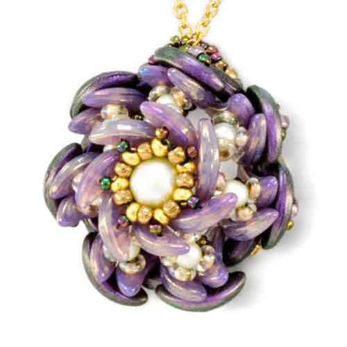 free czech glass pattern datura pendant