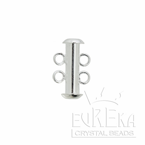 16mm SILVER Plated 2 STRAND TUBE BAR Clasp