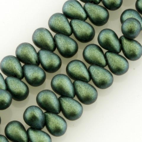 6x4mm Drop AQUA TEAL POLYCHROME Czech Glass Beads