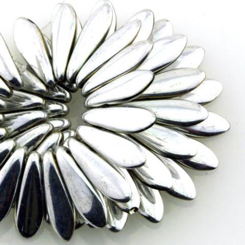 16x5mm Dagger SILVER Czech Glass Beads