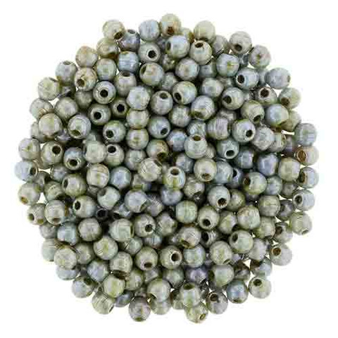 3mm Round Druk Beads GREEN OPAQUE LUSTER