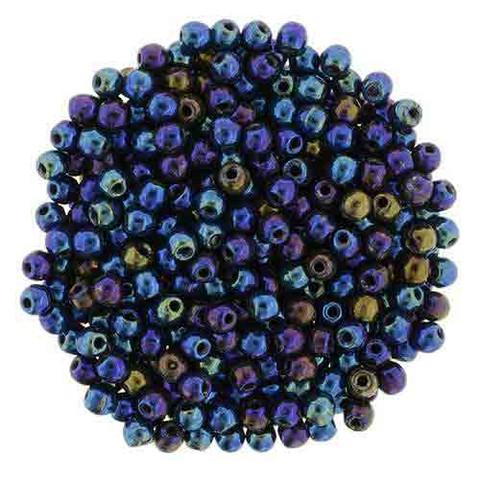 3mm Round Druk Beads IRIS BLUE