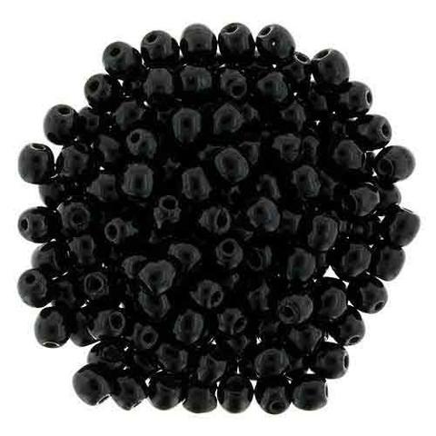 3mm Round Druk Beads JET