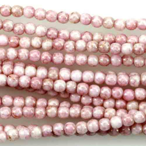 3mm Round Druk Beads PINK TOPAZ OPAQUE LUSTER