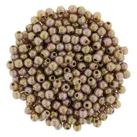 3mm Round Druk Beads ROSE GOLD TOPAZ OPAQUE LUSTER