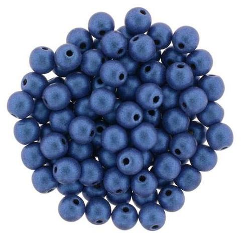 4mm Round Druk Beads BLUE METALLIC SUEDE
