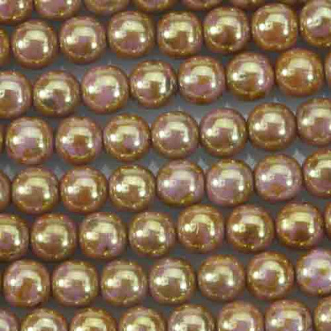 6mm Round Druk Beads ROSE GOLD TOPAZ OPAQUE LUSTER