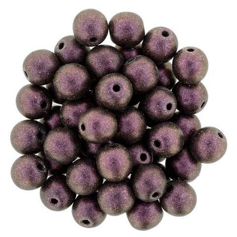 6mm Round Druk Beads PINK OLIVE POLYCHROME
