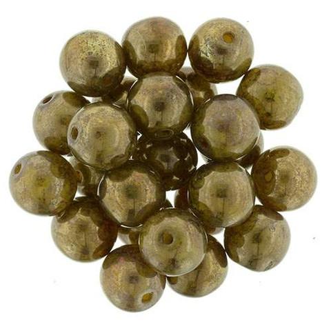 8mm Round Druk Beads YELLOW CORAL BRONZE PICASSO