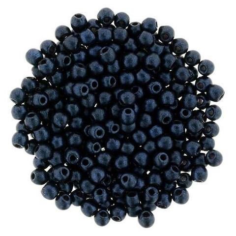 2mm Druk Beads DARK BLUE METALLIC SUEDE