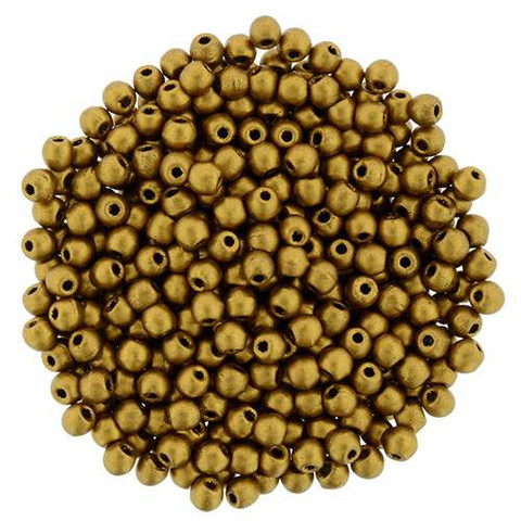 2mm Druk Beads ANTIQUE GOLD METALLIC MATTE