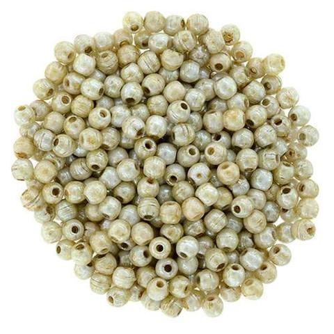 2mm Druk Beads BEIGE OPAQUE LUSTER PICASSO