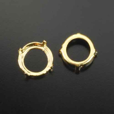 12 mm 4-prong gold plated crystal rivoli or crystal chaton sew on open back setting