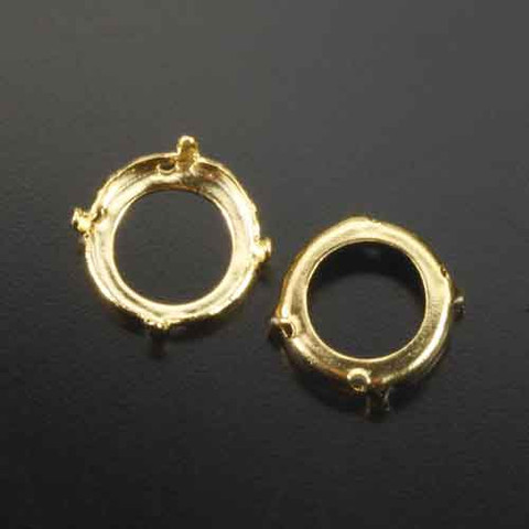 14 mm 4-prong gold plated crystal rivoli or crystal chaton sew on open back setting