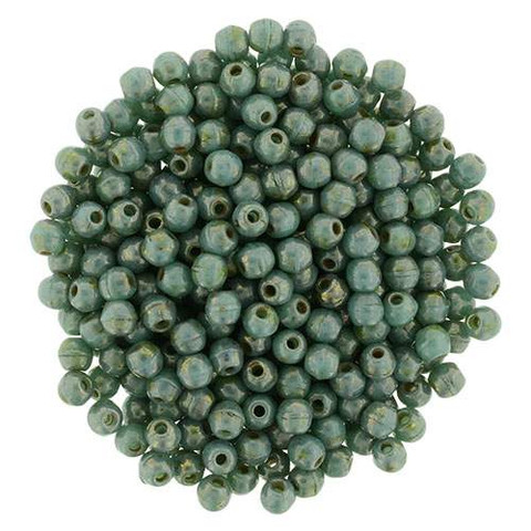 4mm Round Druk Beads TURQUOISE BRONZE PICASSO